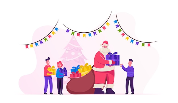 Santa claus character giving gifts to happy children on school or kindergarten matinee standing in room with christmas and new year decoration. cartoon flat illustration