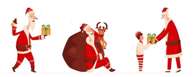 Санта-клаус персонаж в разных позах с тяжелым мешком, оленями и мальчиком на белом фоне.