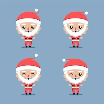 크리스마스 요소를 보완하는 산타 클로스 캐릭터 세트