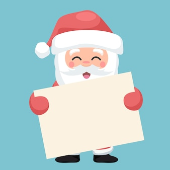 Santa claus character with blank card