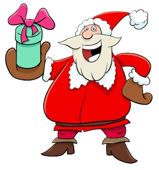 Santa claus character with christmas present