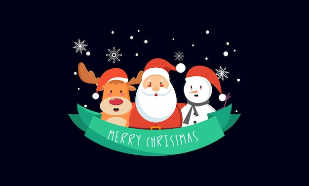 Santa claus character with lettering illustration. merry christmas