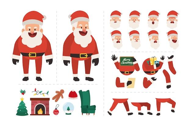 Санта-клаус персонаж с различными выражениями лица