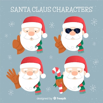 Santa claus characters collection in flat design