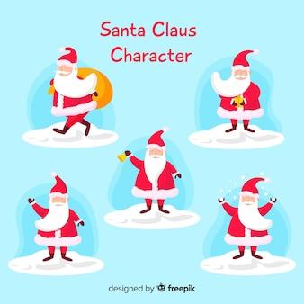Коллекция персонажей санта клауса в плоском дизайне