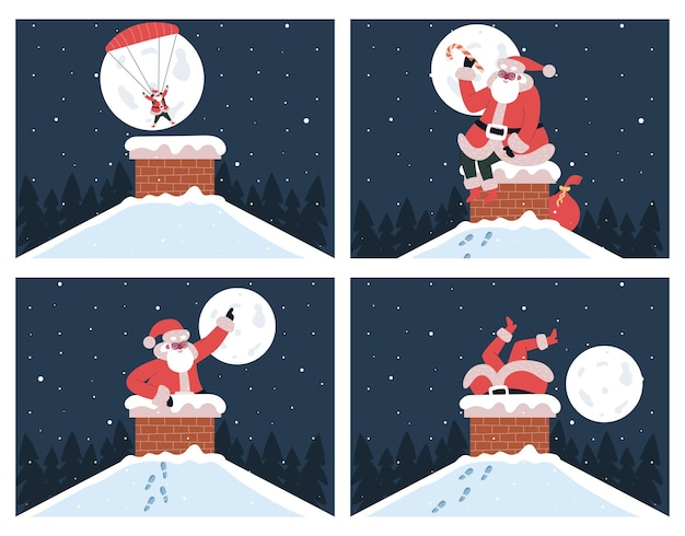 Santa claus in chimney. cute santa claus stuck in chimney and dives to chimney with parachute vector illustrations set. christmas gifts delivery