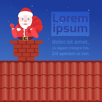 Santa claus in chimney on roof merry christmas happy new year  flat portrait  copyspace
