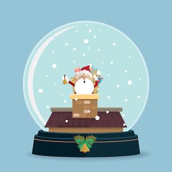 Santa claus chimney in snow globe vector
