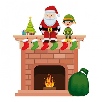Santa claus in chimney with elf