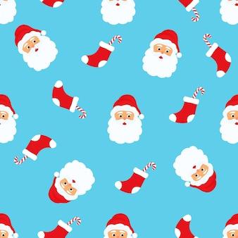 サンタクロース。クリスマスと新年のシームレスなパターン
