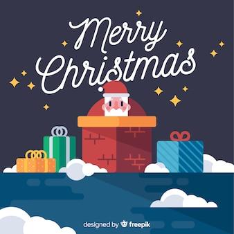 フラットデザインのサンタクロースのクリスマスの背景