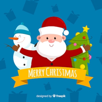 Santa claus christmas background in flat design