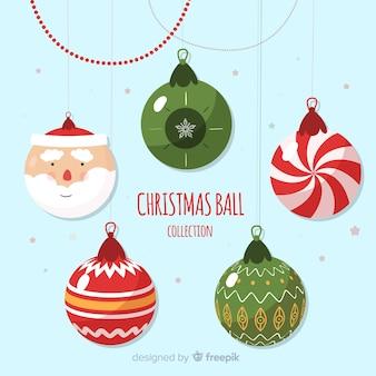 Santa claus christmas balls background