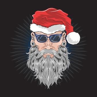 Santa claus christmas beard barber man illustration