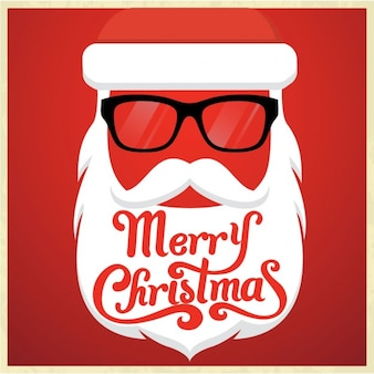 Santa claus christmas card in hipster style