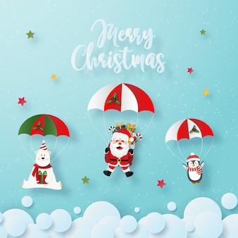 Santa claus and christmas characters make a parachute jump on the sky