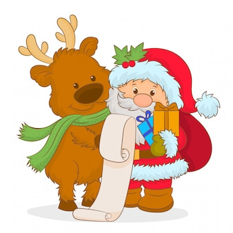Santa claus and christmas deer