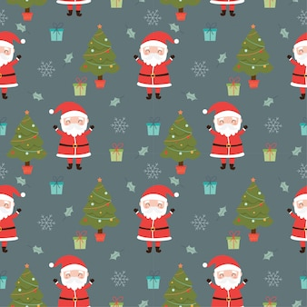 Santa claus and christmas elements seamless pattern