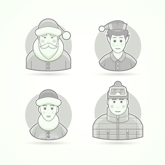 Santa claus, christmas elf, polar woman, warm dressed man. set of character, avatar and person  illustrations.  black and white outlined style.
