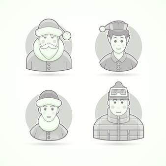 サンタクロース、クリスマスのエルフ、北極の女性、暖かい服を着た男。キャラクター、アバター、人のイラストのセットです。黒と白のアウトラインスタイル。
