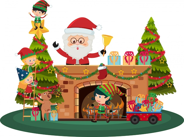 Santa claus and christmas elves by fireplace