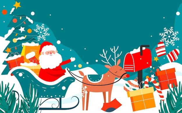 Санта-клаус сочельник подарки иллюстрация зимняя снежная сцена плакат