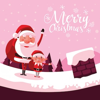 ヘルパーと煙突のサンタクロースクリスマス
