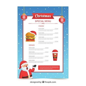 Santa claus christmas menu