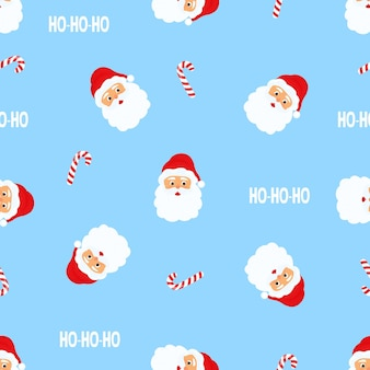 Santa claus. christmas and new year's seamless pattern.