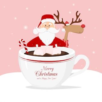 Санта-клаус, рождественский олень и чашка кофе с леденцом