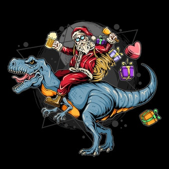 선물을 들고 렉스 공룡을 타고 산타 클로스 크리스마스