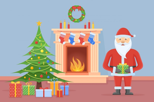 Santa claus in christmas room interior with fireplace, tree and gifts in flat style