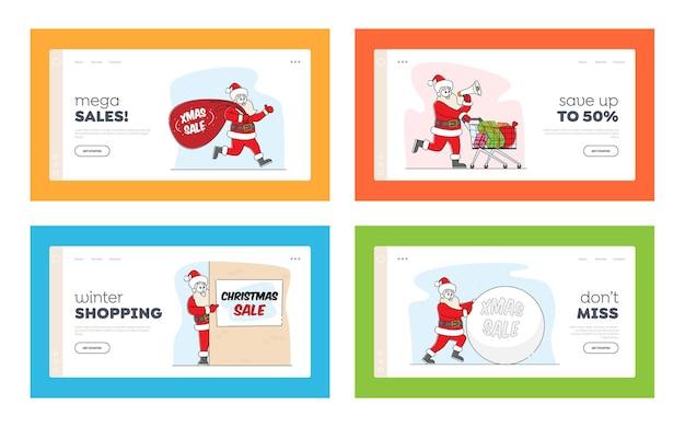 Santa claus christmas sale announcement landing page template set