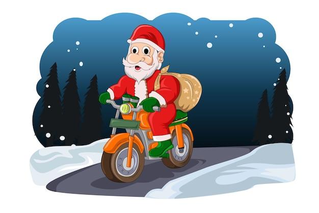 サンタクロースのクリスマスは彼のバイクで彼の贈り物をセン