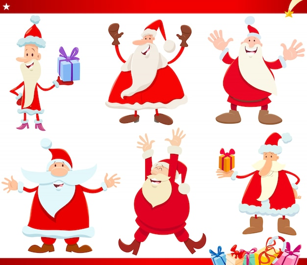 Santa claus on christmas time cartoon set