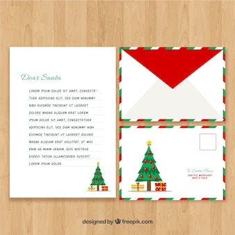 Santa claus christmas tree letter template