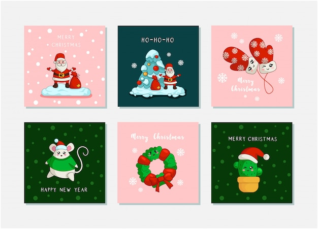 Дед мороз, новогодняя елка, новогодняя мышка, кактус, венок каваи новогодние открытки