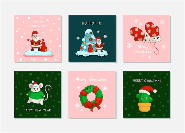 Santa claus, christmas tree, new year mouse, cactus, wreath   kawaii christmas greeting cards