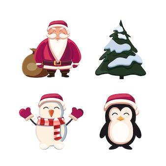 산타 클로스, 크리스마스 트리, 눈사람 및 펭귄. 흰색 배경에 고립 된 만화 크리스마스 캐릭터