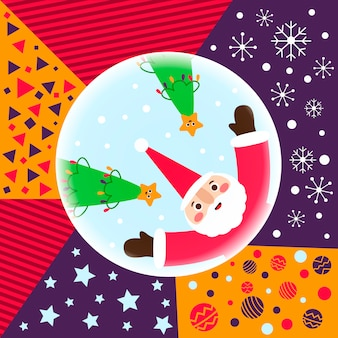 Santa claus and christmas trees with patterns
