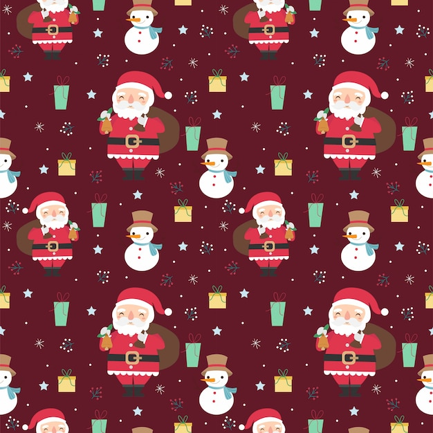 Santa claus and christmas variety elements seamless pattern