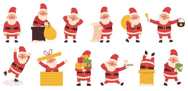 산타 클로스 크리스마스 겨울 휴가 귀여운 캐릭터. 선물, 스케이트, 굴뚝 벡터 삽화 세트를 들고 있는 산타 마스코트. 크리스마스 재미 산타 클로스 캐릭터