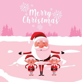雪景色のヘルパーとサンタクロースクリスマス