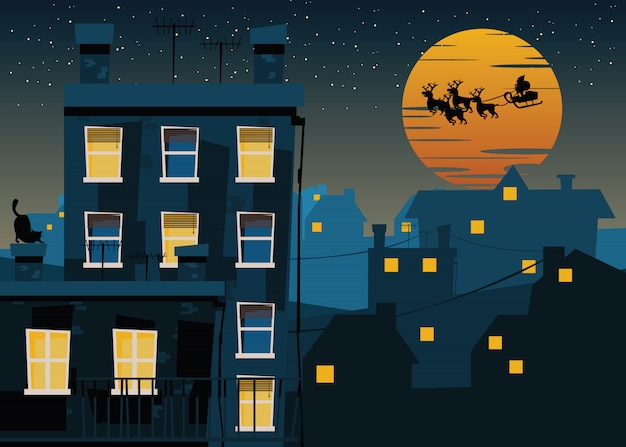 Santa claus over the city vector illustration