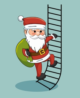 Santa claus climbing stairs with gift bag