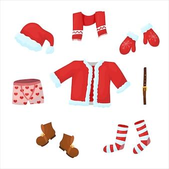산타클로스 옷. 밝은 정장. 만화 스타일의 크리스마스 장식입니다. 벡터 일러스트 레이 션 흰색 배경에 고립입니다.