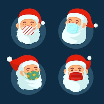 Santa claus collection wearing face mask