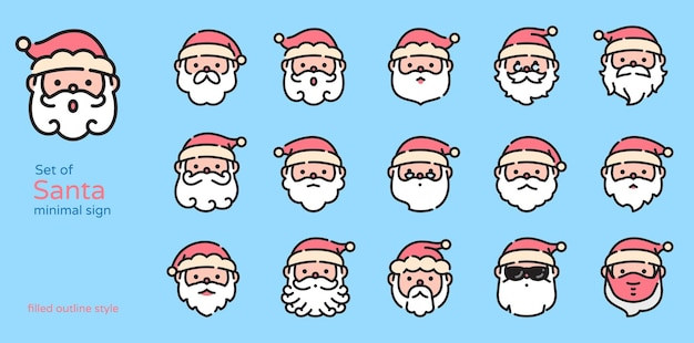 Santa claus colored line design icon vector illustration. filled and outline.