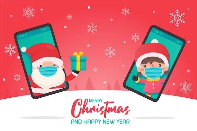 Santa claus coming out of the mobile phone to send gift boxes to children in winter clothes