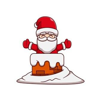 눈 속에서 굴뚝에서 나오는 산타 클로스